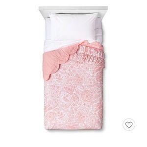 NWT Pillowfort Mint Green /& White Birds Scalloped Edge Sham Standard Size
